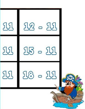 Printable Math Center Tic Tac Toe Subtraction -11 to -20 File Folder Game