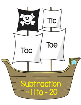 Printable Math Center Tic Tac Toe Subtraction -11 to -20 F