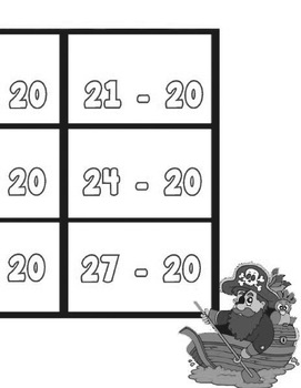 Printable Math Center Tic Tac Toe Subtraction -11 to -20 File Folder Game Gray
