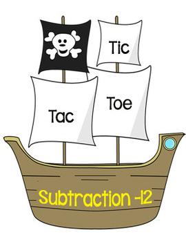 Printable Math Center Tic Tac Toe Subtraction Minus 12 File Folder Game