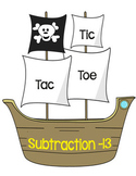 Printable Math Center Tic Tac Toe Subtraction Minus 13 File Folder Game