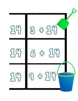 Printable Math Center Tic Tac Toe Addition Plus 14 File Folder Game