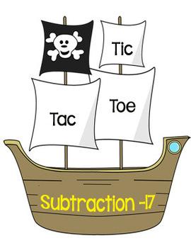 Printable Math Center Tic Tac Toe Subtraction Minus 17 File Folder Game