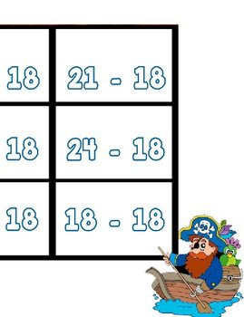 Printable Math Center Tic Tac Toe Subtraction Minus 18 File Folder Game