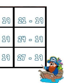Printable Math Center Tic Tac Toe Subtraction Minus 19 File Folder Game