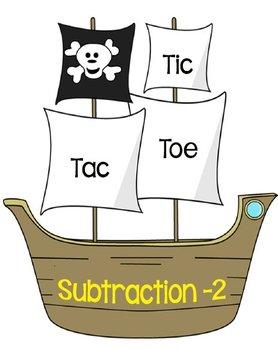 Printable Math Center Tic Tac Toe Subtraction Minus 2 File Folder Game