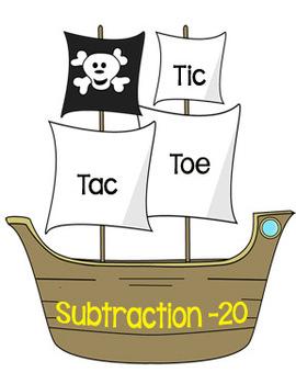 Printable Math Center Tic Tac Toe Subtraction Minus 20 File Folder Game