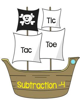 Printable Math Center Tic Tac Toe Subtraction Minus 4 File Folder Game