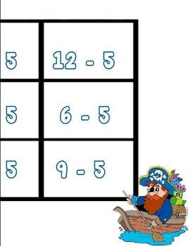 Printable Math Center Tic Tac Toe Subtraction Minus 5 File Folder Game