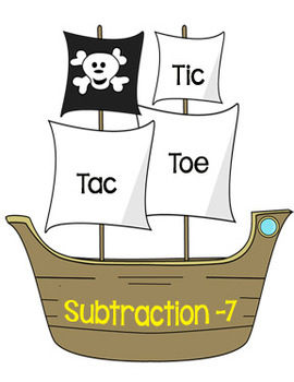 Printable Math Center Tic Tac Toe Subtraction Minus 7 File Folder Game