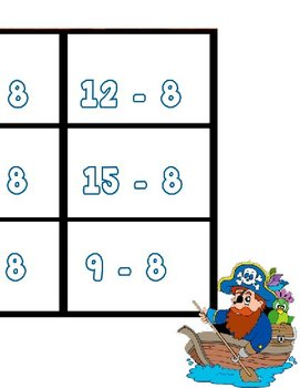 Printable Math Center Tic Tac Toe Subtraction Minus 8 File Folder Game