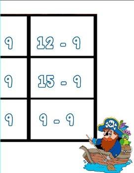 Printable Math Center Tic Tac Toe Subtraction Minus 9 File Folder Game