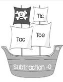 Printable Math Center Tic Tac Toe Subtraction Minus 0 File Folder Game Gray