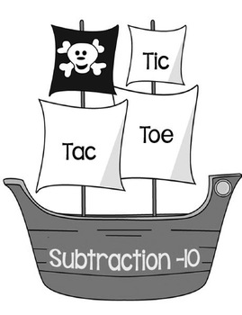 Printable Math Center Tic Tac Toe Subtraction Minus 10 File Folder Game Gray