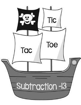 Printable Math Center Tic Tac Toe Subtraction Minus 13 File Folder Game Gray