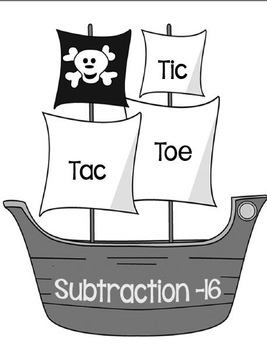 Printable Math Center Tic Tac Toe Subtraction Minus 16 File Folder Game Gray