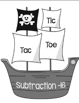 Printable Math Center Tic Tac Toe Subtraction Minus 16 Fil