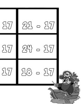 Printable Math Center Tic Tac Toe Subtraction Minus 17 File Folder Game Gray
