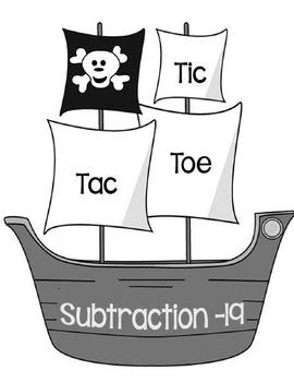 Printable Math Center Tic Tac Toe Subtraction Minus 19 File Folder Game gray