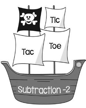Printable Math Center Tic Tac Toe Subtraction Minus 2 File Folder Game Gray