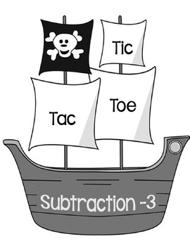 Printable Math Center Tic Tac Toe Subtraction Minus 3 File Folder Game Gray