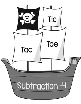 Printable Math Center Tic Tac Toe Subtraction Minus 4 File Folder Game Gray