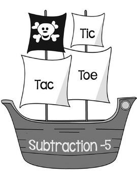 Printable Math Center Tic Tac Toe Subtraction Minus 5 File Folder Game Gray