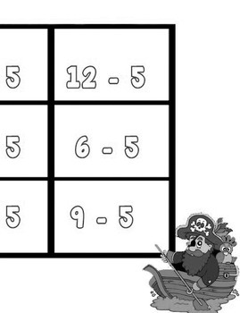 Printable Math Center Tic Tac Toe Subtraction Minus 5 File Folder Game Gray