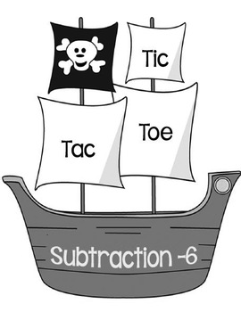 Printable Math Center Tic Tac Toe Subtraction Minus 6 File Folder Game Gray