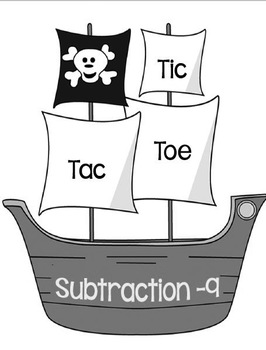 Printable Math Center Tic Tac Toe Subtraction Minus 9 File Folder Game Gray