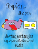 Printable Math File Folder Game Airplane Shapes - rectangles, squares, ovals +