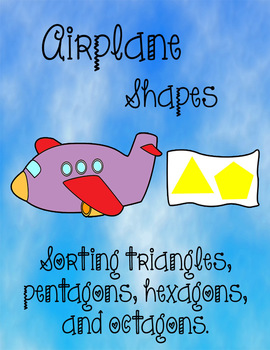 Printable Math File Folder Game Airplane Shapes - Triangles Pentagons Hexagons +