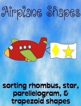 Printable Math File Folder Game Airplane Shapes - rhombuses, trapezoids, stars +
