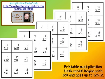 Printable Math Flash Cards Bundle
