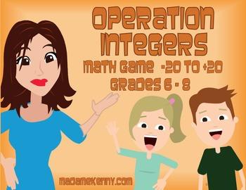 Printable Math Game: Operation Integers