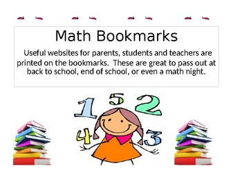 Printable Math Website Bookmarks (Great for Meet the Teacher/ End Of Year)