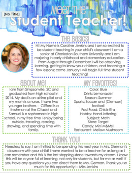 Printable Meet the Student Teacher Handout (EDITABLE)