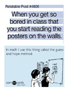 Printable Memes for Middle/High School Math Classroom