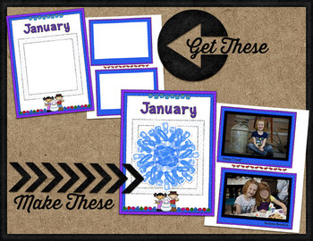 Printable Memory Book Spread {January Winter Kids}
