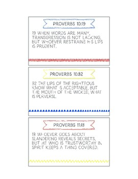 Printable Memory Verse Cards (ESV) Speech From the Book of Proverbs