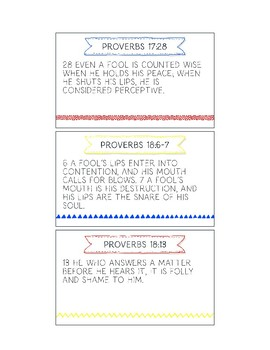 Printable Memory Verse Cards (NKJV) Speech From The Book of Proverbs