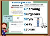 Printable Mnemonic: Forming Plurals When to Add -es