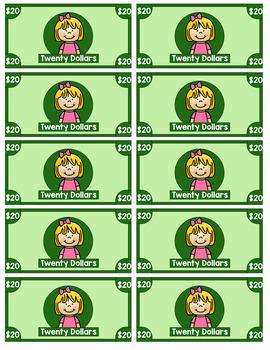 Printable Money Sheets - Classroom Economy