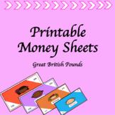 Printable Money Sheets- Classroom Economy