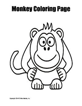 Printable Monkey Coloring Page Worksheet