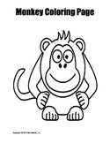 Printable Monkey Coloring Page Worksheet