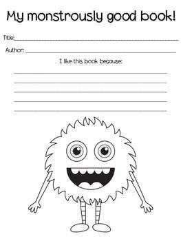 Printable Monster Book Reviews Reading Center