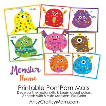 graphic regarding Printable Monster known as Printable Monster Topic Pom Pom Mats