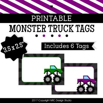 Printable, Monster Trucks, Frame, Name Tags - Classroom Decoration