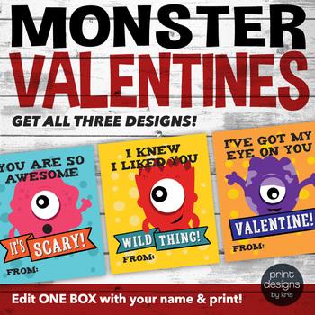 Printable Monster Valentines Day Card - Boy Valentine - School Valentines Card